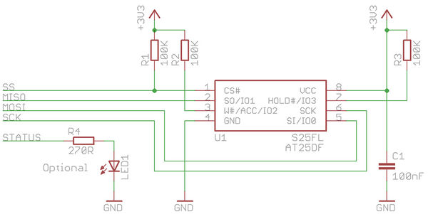 SPI DataFlash connection schematic